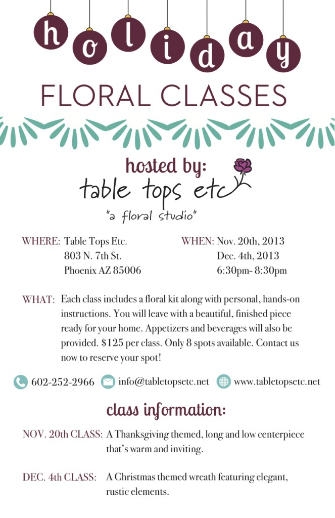 Table Tops Etc. floral classes